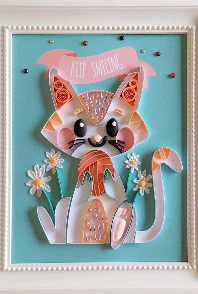 Dá para acreditar que esse gatinho inteiro foi feito com tirinhas de papel?