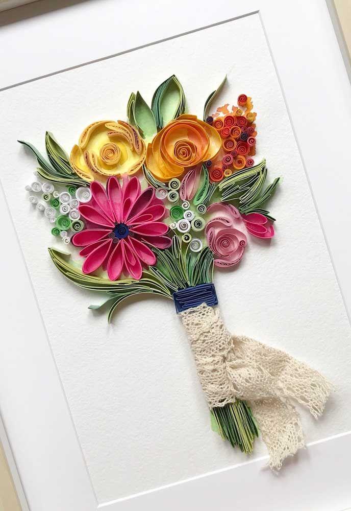 Buque de flores emoldurado