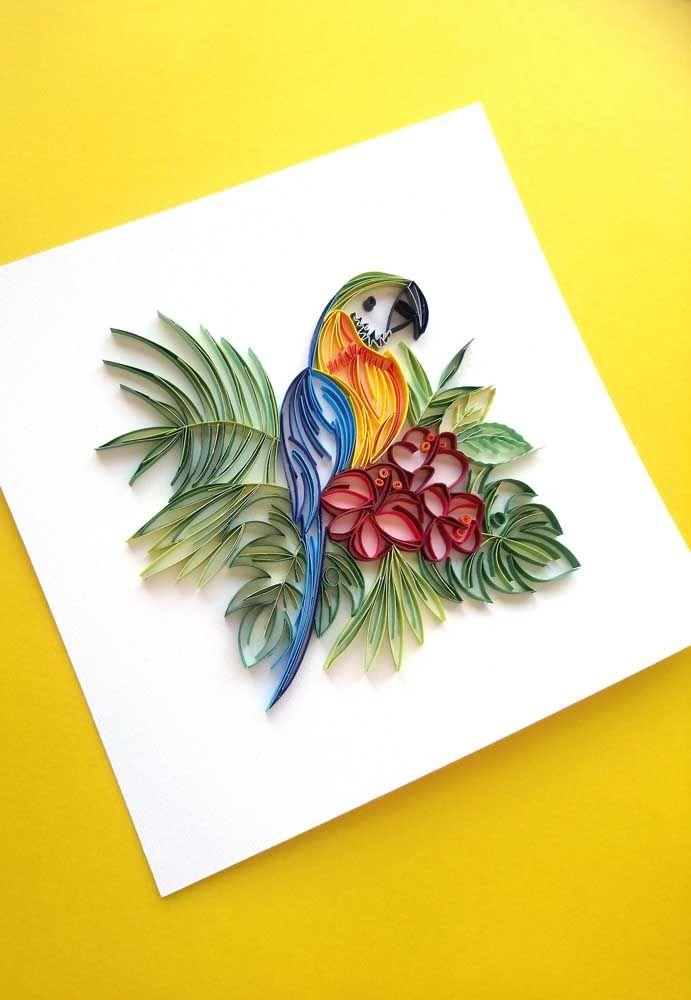A fauna e a flora tropical foram a inspiração para esse outro trabalho quilling