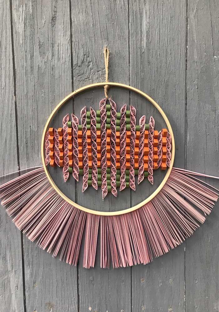Mas se preferir, pode se inspirar nas decorações de estilo étnico para criar o artesanato quilling