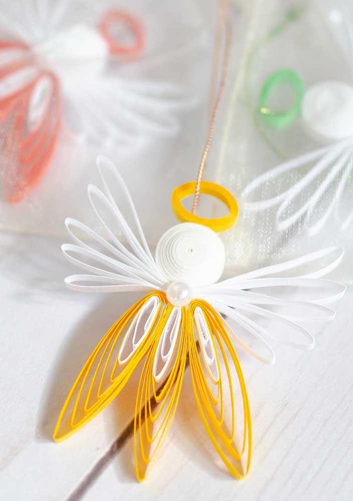 Anjinhos de papel para serem pendurados pela casa