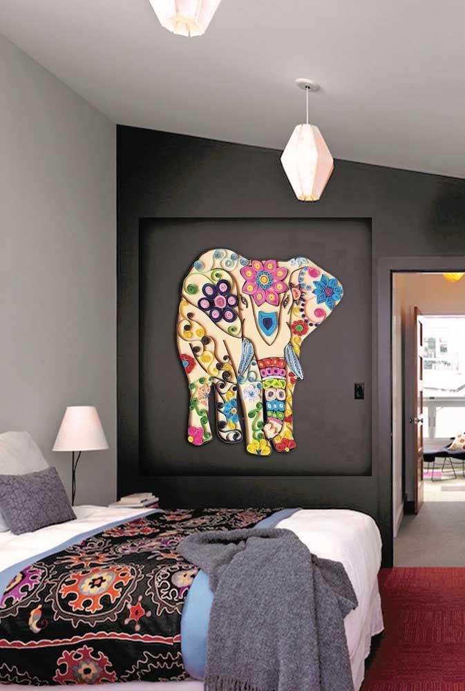 Para os mais crescidinhos vale apostar em um painel com elefante ao melhor estilo indiano