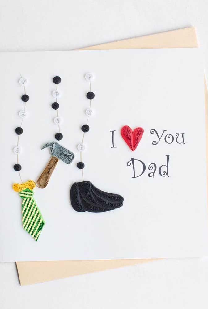 E que tal um cartão de natal quilling feito especialmente para o papai?