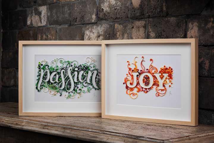 Palavras inspiradoras decoradas com quilling