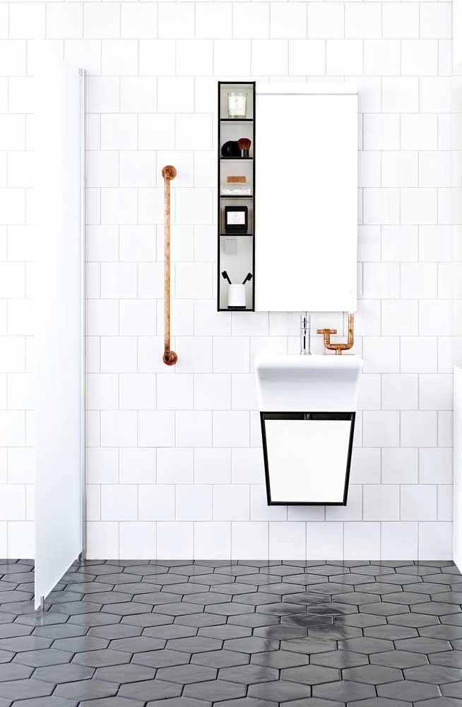 Nicho com inspiração minimalista para o banheiro