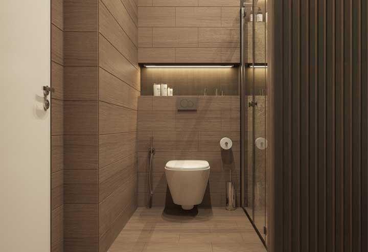 Uma pequena fita de LED no nicho e tcharam...você muda a cara do seu banheiro