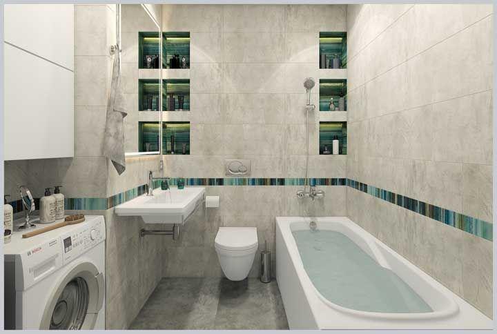 O banheiro de base neutra apostou no uso das cores na parte interior dos nichos, seguida pela estreita faixa que percorre as paredes