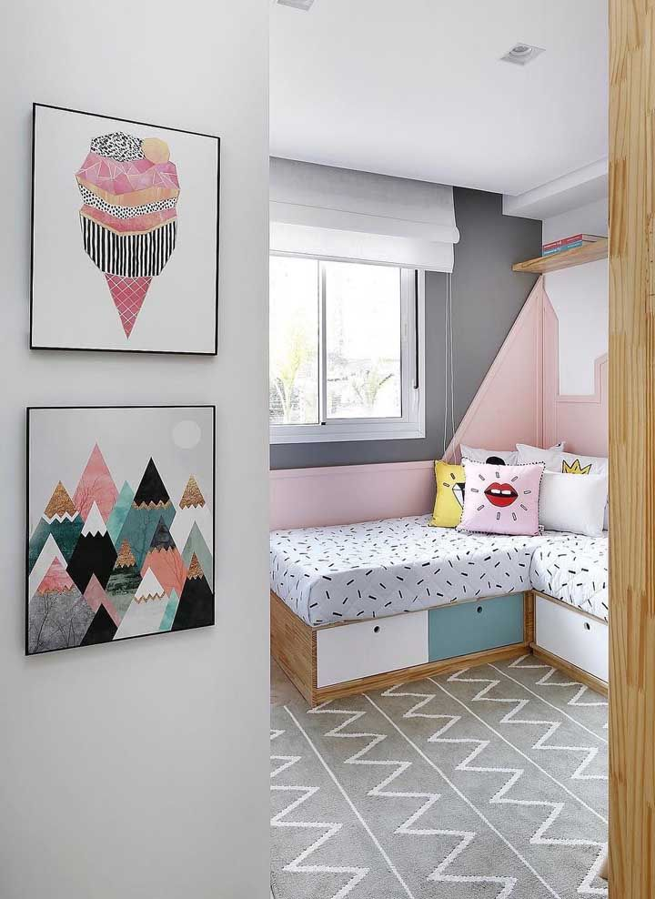 Já nos quartos infanto juvenis, quadros coloridos e descontraídos são sempre bem vindos