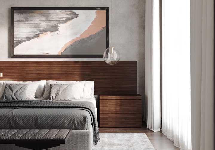 Cinza no quadro, na cama e nas paredes