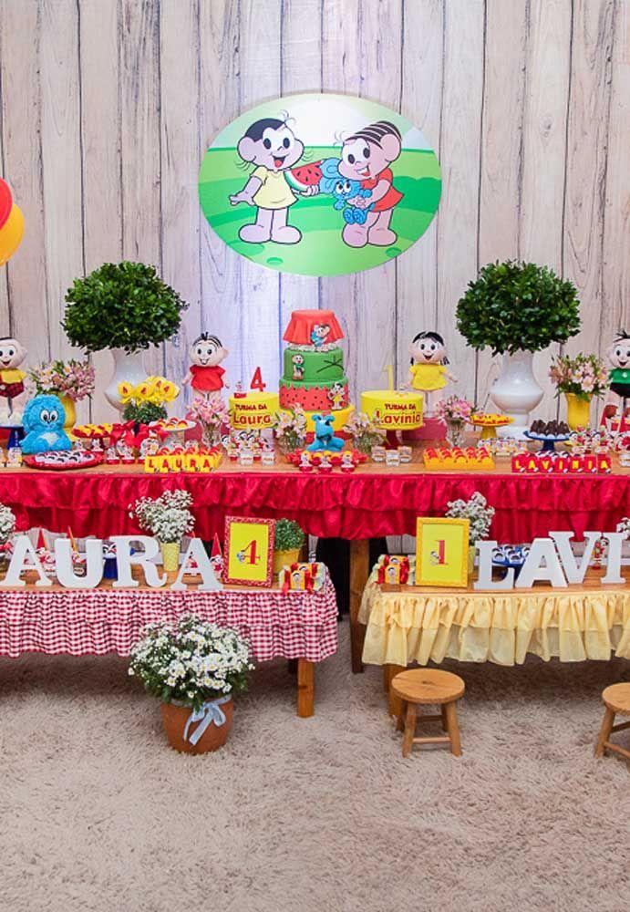 Use e abuse das cores vermelha, verde e amarela na hora de fazer uma decoração com o tema da Turma da Mônica.