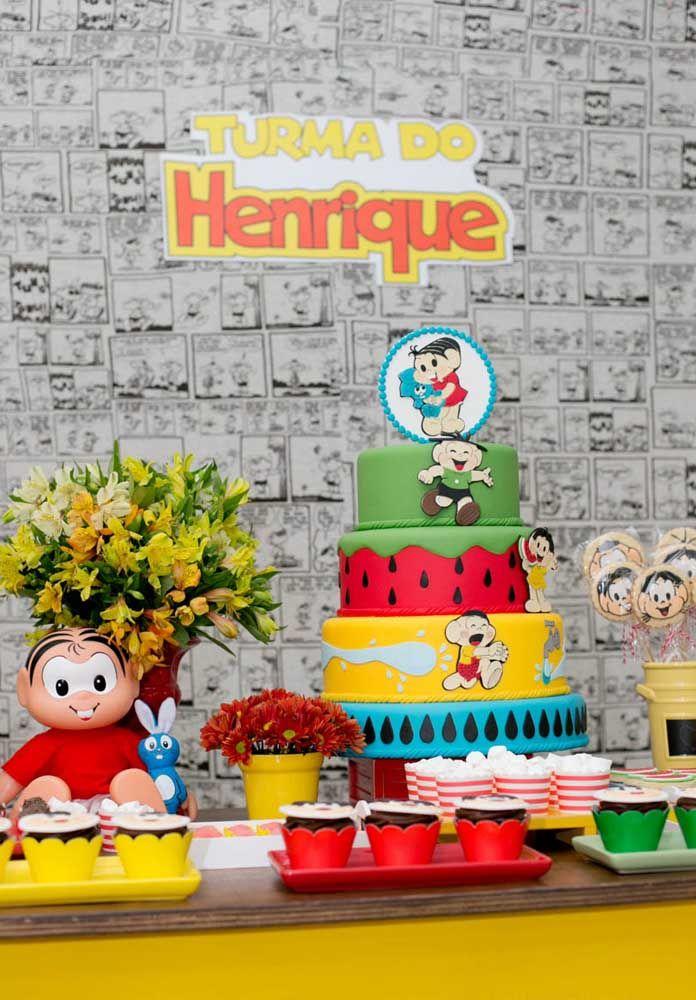 Na hora de fazer o bolo do aniversário com o tema da Turma da Mônica, use as cores principais em cada camada.