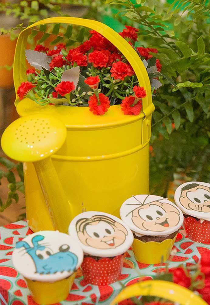 Que tal preparar um jardim de cupcake com os personagens da Turma da Mônica?
