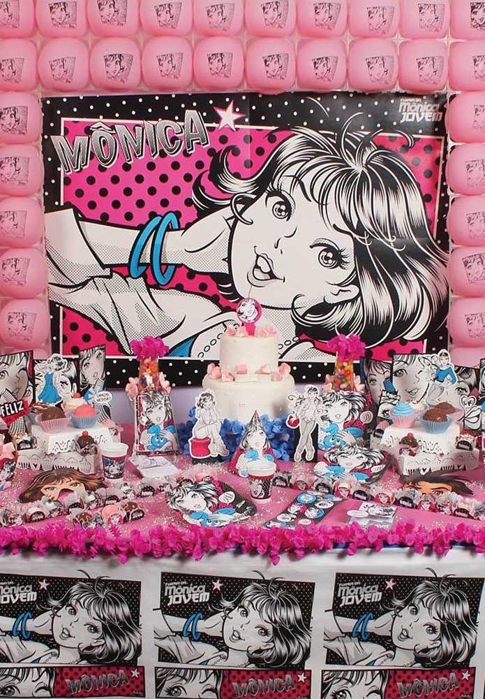 """Para as adolescentes uma ótima opção de tema é a """"Mônica Jovem"""" que apresenta uma decoração bem descolada."""