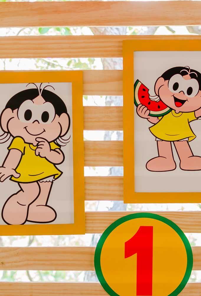 No tema da Magali, prepare alguns quadros com molduras amarelas e as fotos da personagem.