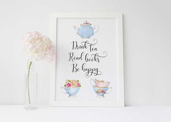 Livros e chá para ser feliz!