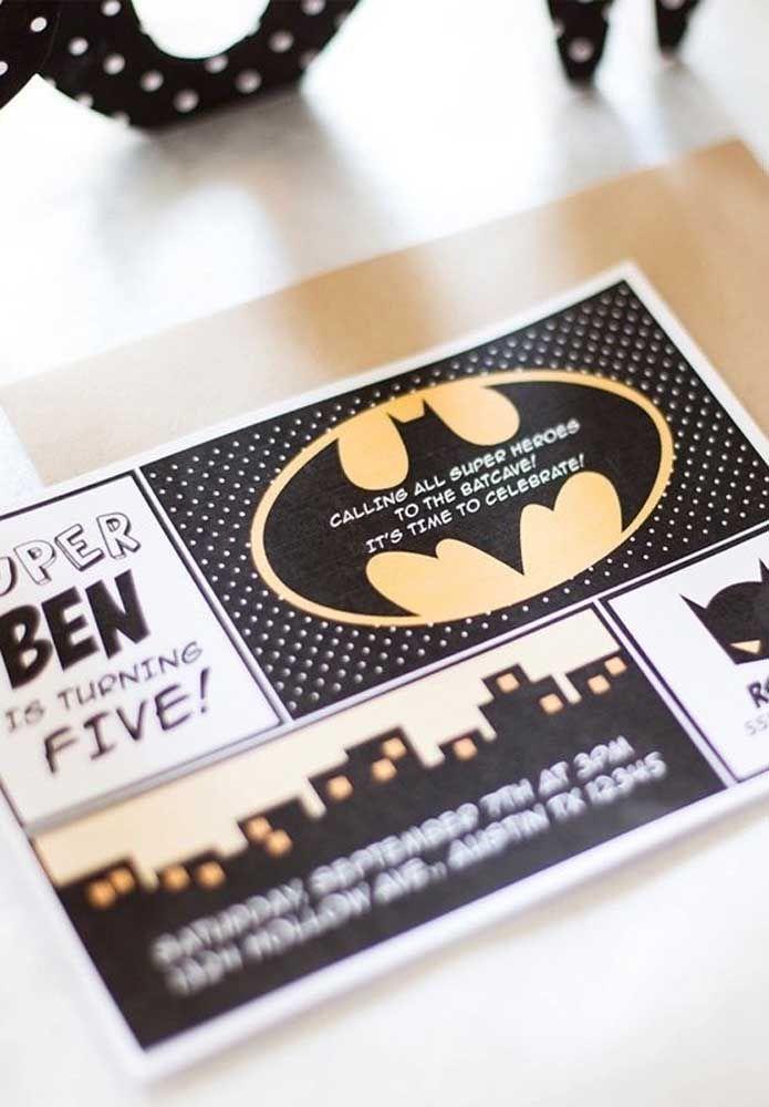 Mais um modelo de convite bem criativo para chamar os amigos para participarem da festa com o tema Batman.
