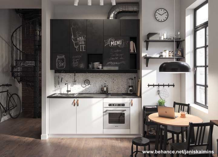 Todo o charme das pequenas cozinhas; destaque para o papel lousa usado no revestimento do armário