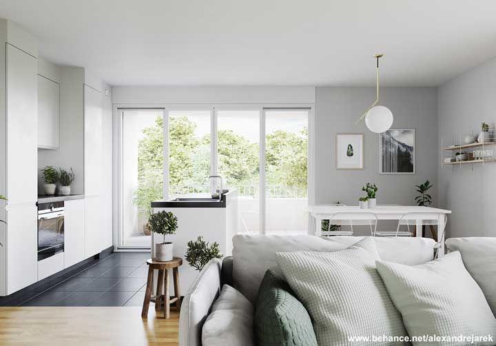Mas se a sua intenção for delimitar visualmente cada ambiente use pisos diferentes, assim como nessa imagem