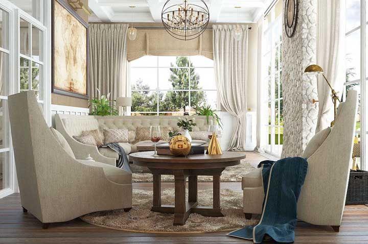 Sala cheia de charme, requinte e móveis rústicos