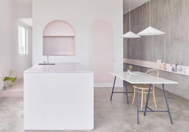 Projeto original e delicado de cozinha que tem o Corian como base