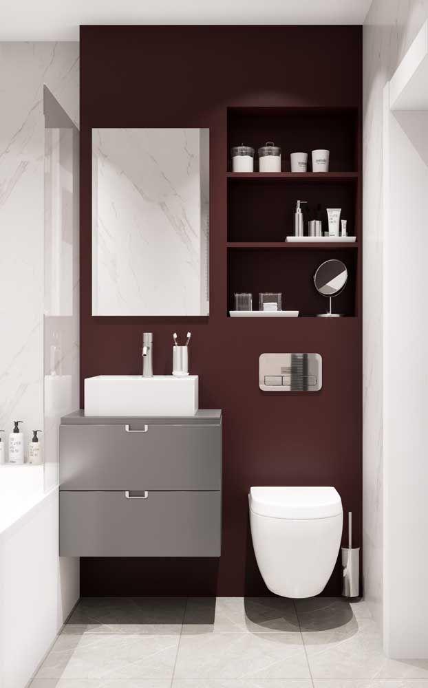 O kit higiene ganhou um espaço exclusivo, o que garante um aspecto limpo e de organização ao local