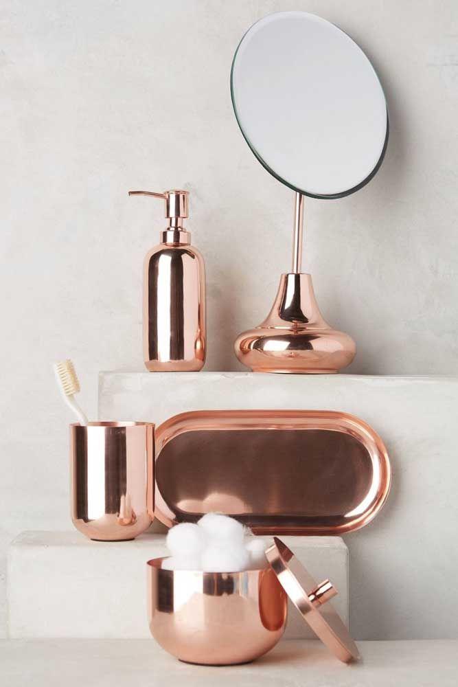 Kit higiene rosé gold: cor tendência do momento para a decoração do banheiro