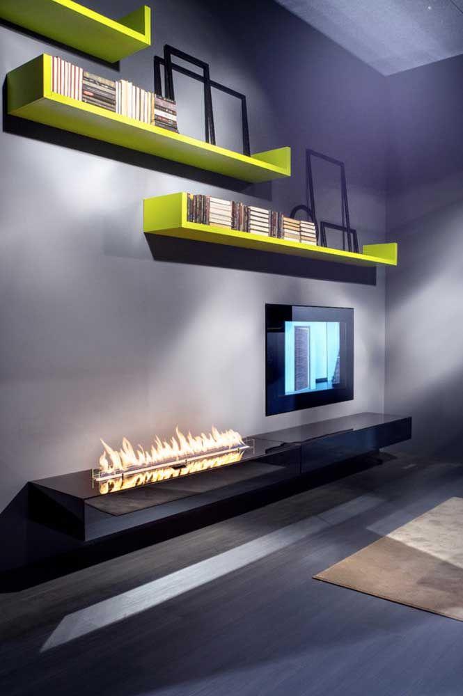 Sala moderna com lareira ecológica: decoração simples e objetiva