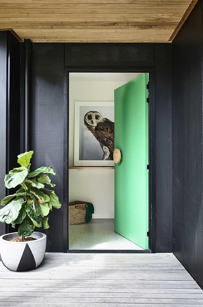 Não tenha medo de ousar e invista em uma cor diferente e original para sua porta de entrada