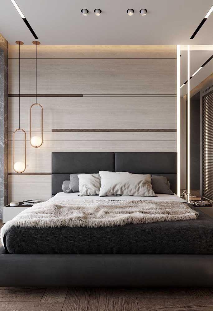O palha entra nesse quarto para garantir um espaço moderno e fugir da combinação básica entre preto e branco