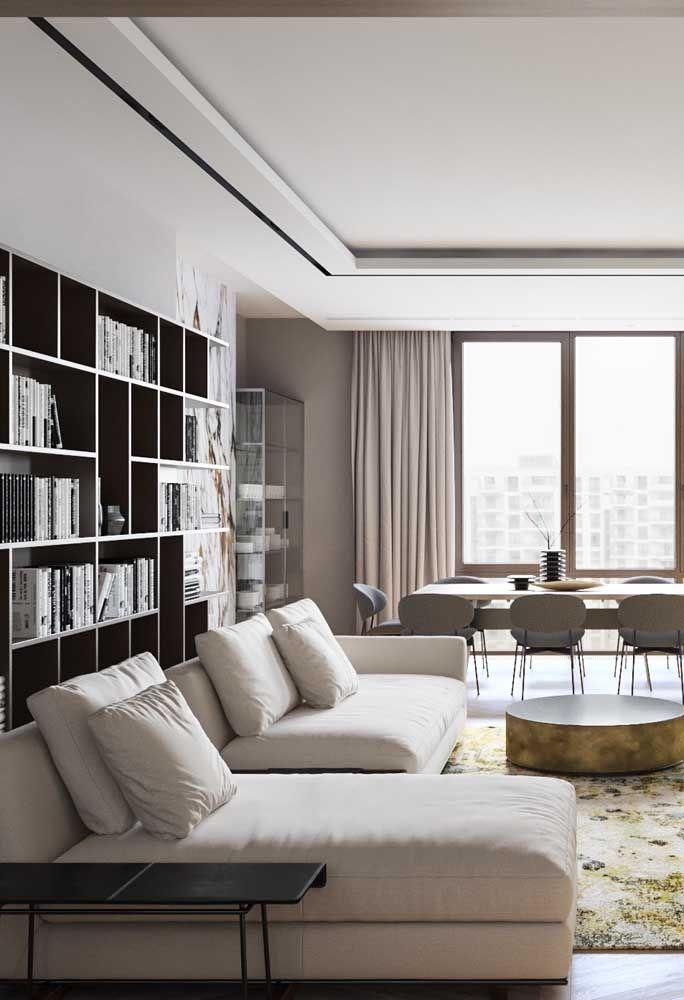 Repare como o palha unido ao cinza deixa o ambiente sóbrio, moderno e elegante
