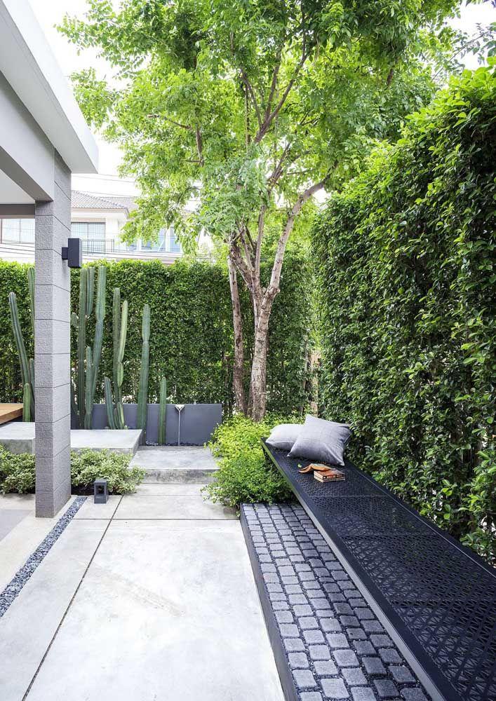 Espaço não é problema quando se deseja um jardim em casa; aqui o jardim percorre o muro pela lateral da casa