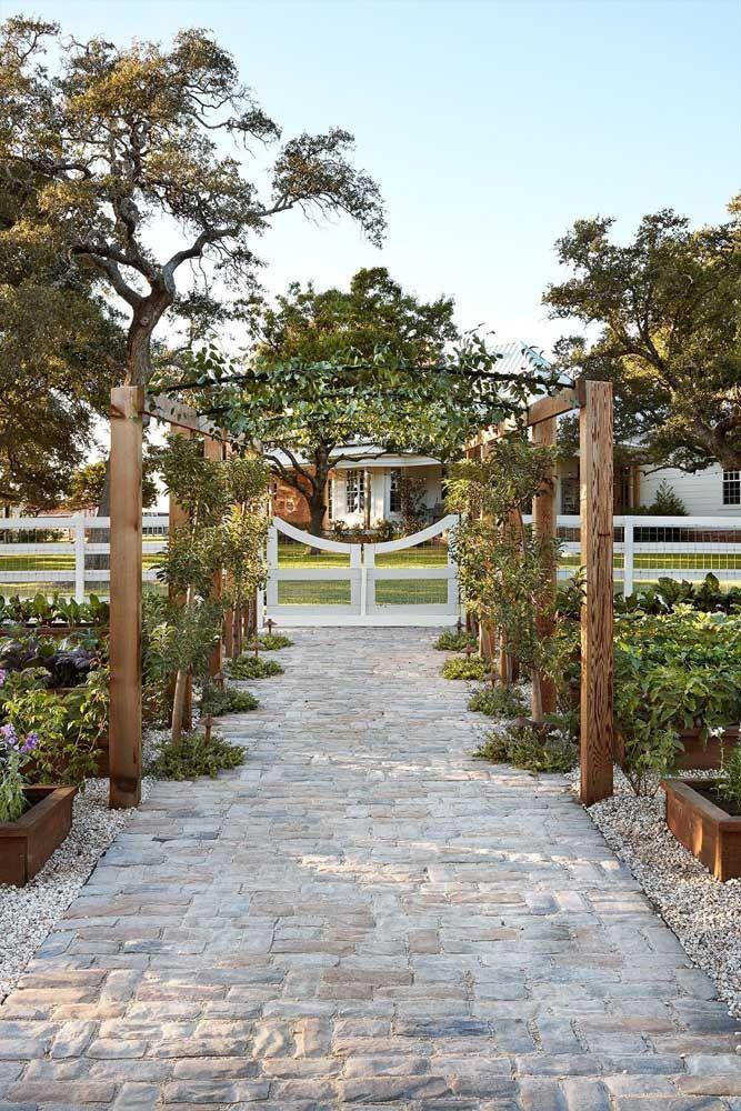 O caminho de pedras com pergolado permite andar e contemplar os dois lados do jardim