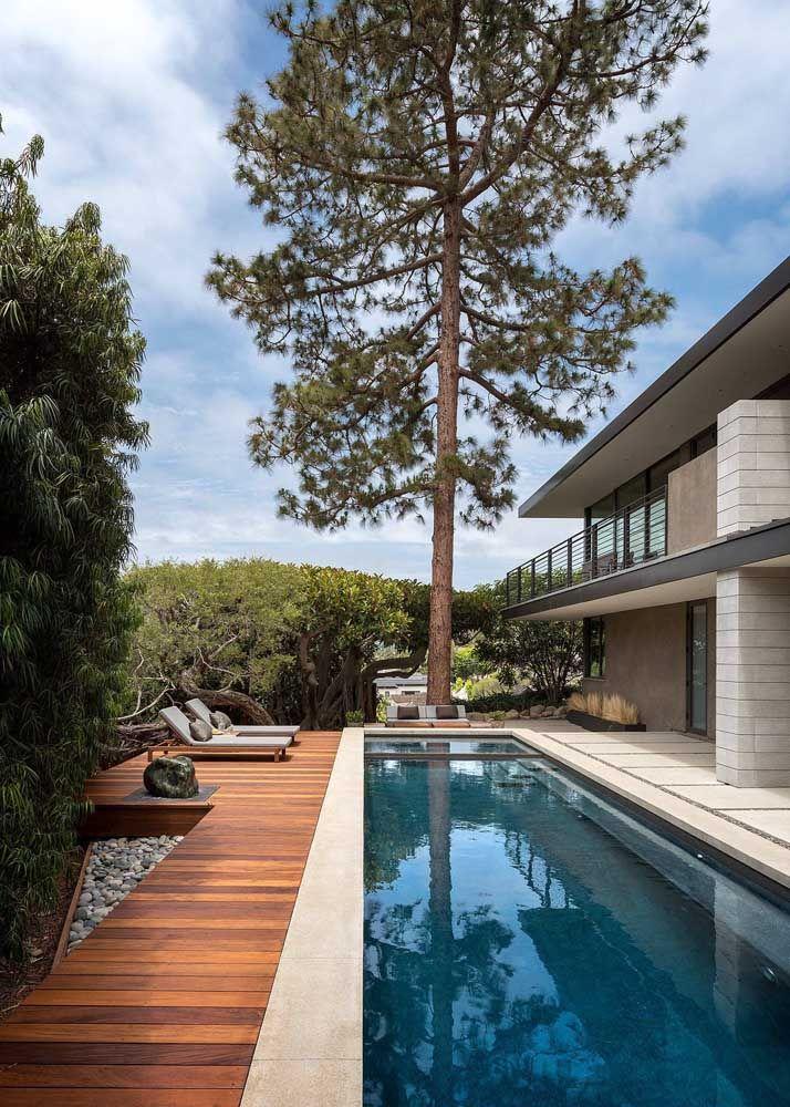 Piscina, deck de madeira e jardim vertical; a paisagem que vem de fora finaliza a proposta