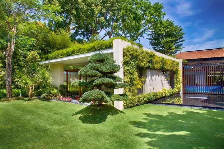 O verde toma conta da fachada dessa casa, começando pelo tapete que cobre o chão, passando pela parede até chegar no teto