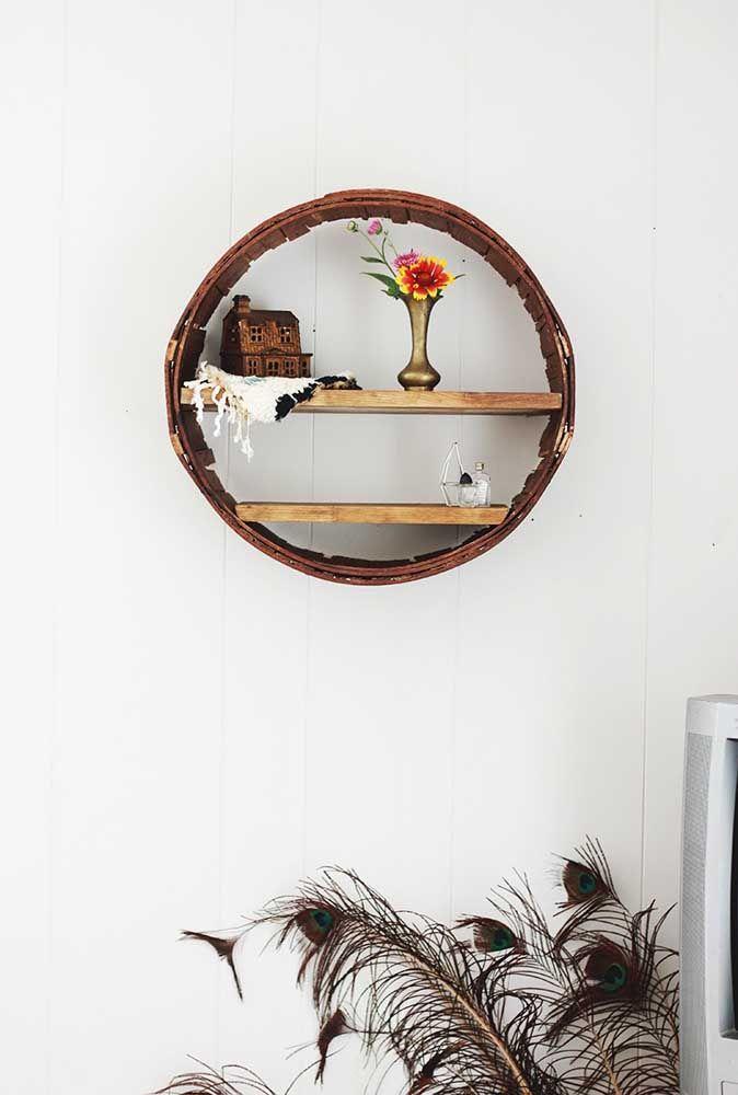 Nicho redondo rústico para uma decoração simples e descontraída