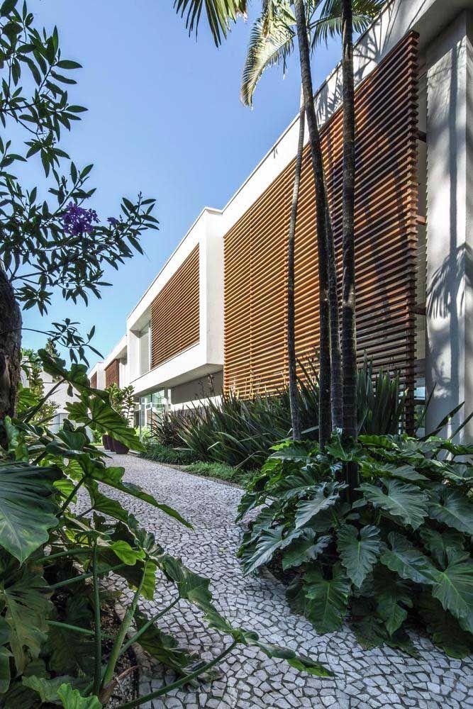 Estilo tropical para a calçada de pedra portuguesa cheia de plantas