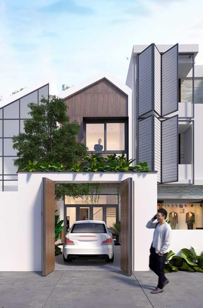 Casa moderna com cores claras na fachada