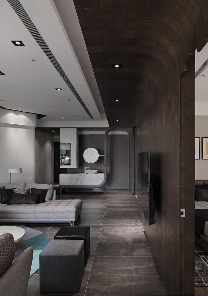 Espaço com porcelanato em estilo pedra; perfeito para ambientes com estilo moderno, industrial ou até mesmo mais rústico
