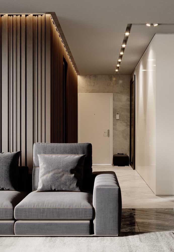 Porcelanato acetinado para a sala e corredor, mostrando que é possível deixar o ambiente incrível mesmo com um piso sem brilho