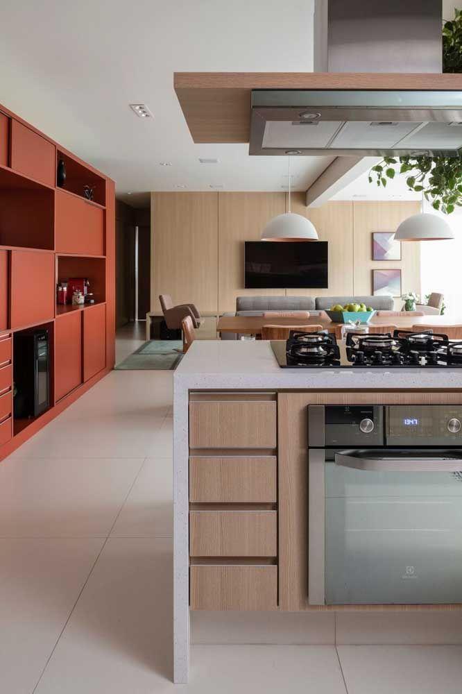 Porcelanato fosco para a cozinha ampla
