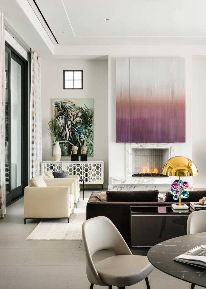 Sala intimista com porcelanato esmaltado em cinza