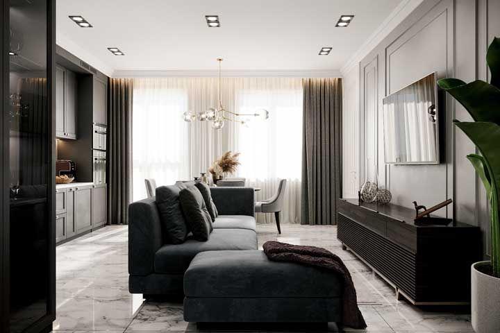 Esta sala de estar contou com um porcelanato esmaltado lindo de viver