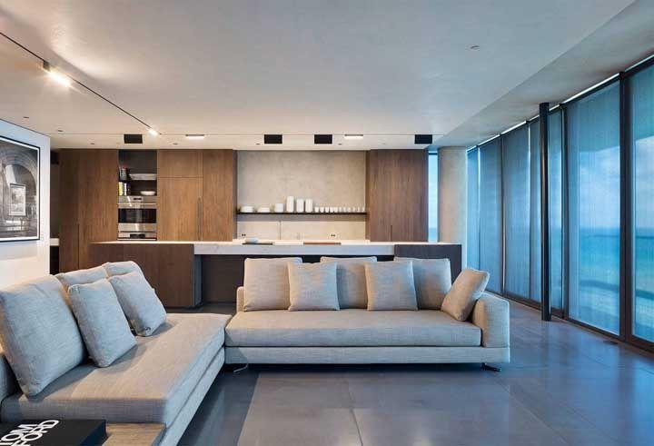 Placas de porcelanato em cinza esmaltado para a sala de estar ampla