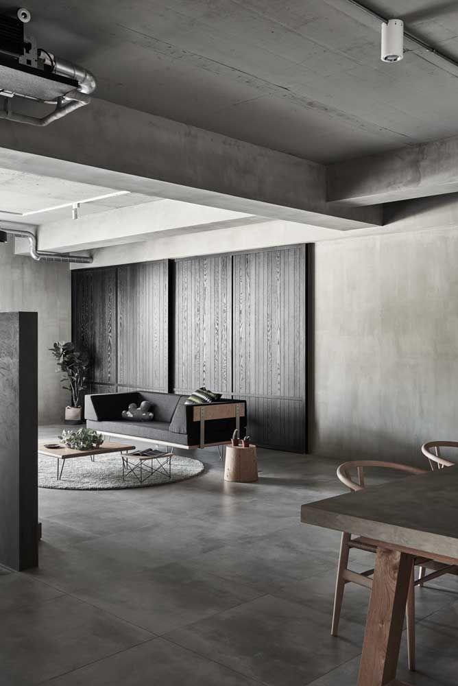 Aqui o porcelanato traça uma linha continua e uniforme entre paredes, teto e chão