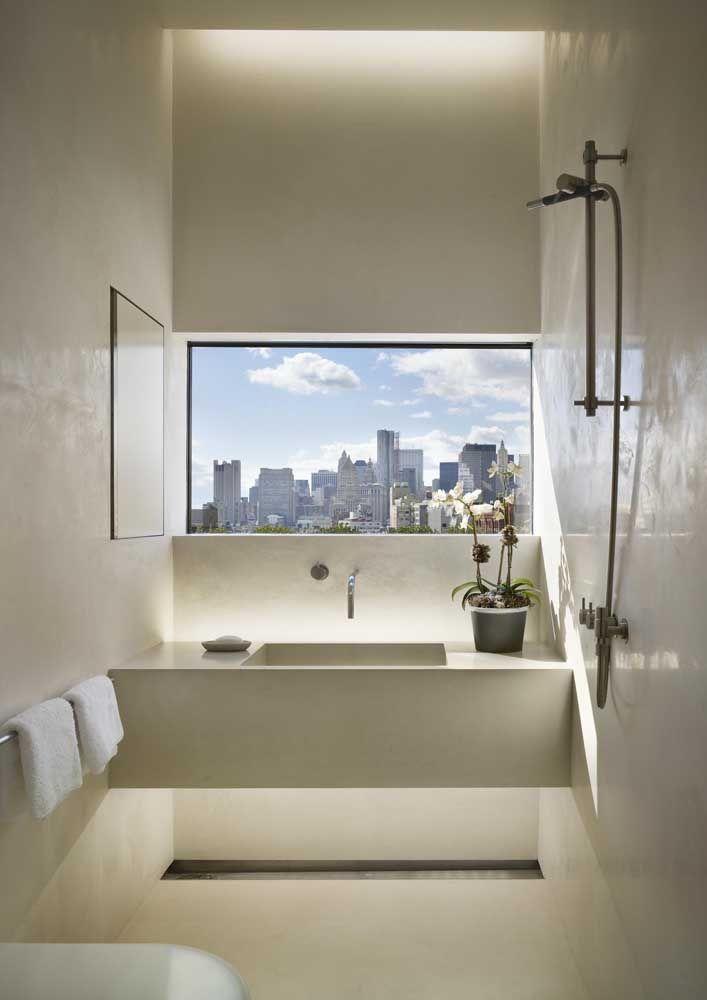 Pia em Marmoglass bege para combinar com o design escolhido para o lavabo