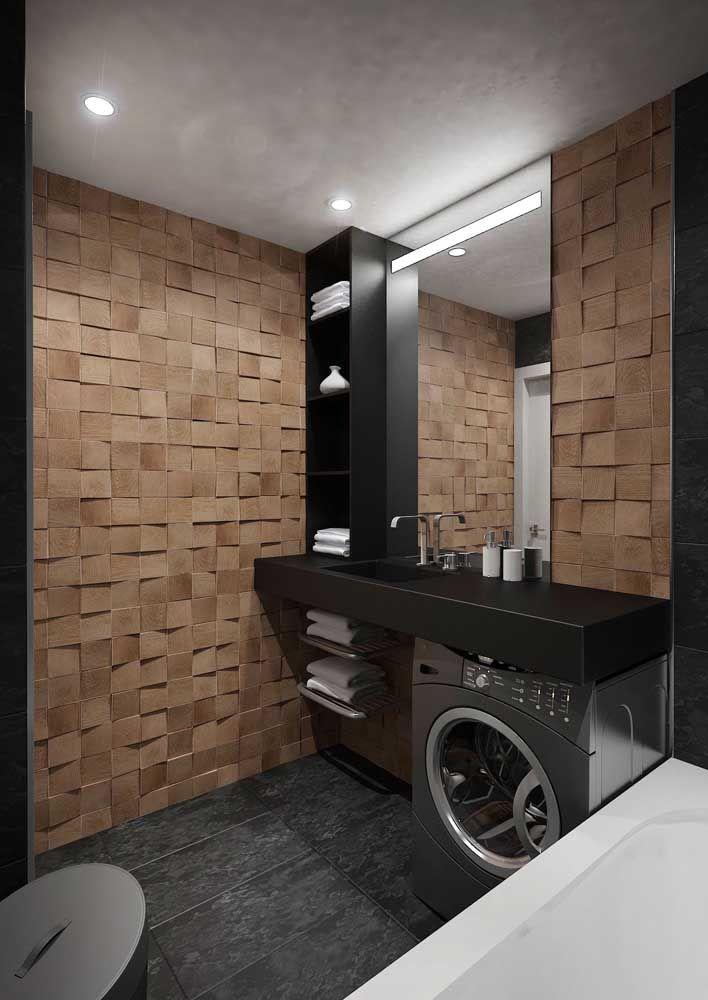 Bancada em Marmoglass preto para o banheiro e área de serviço integradas: a aplicação perfeita para ambientes que tem constante contato com água e produtos químicos