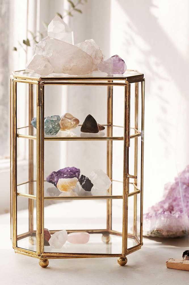 Reserve um cantinho especial para exibir sua coleção de pedras