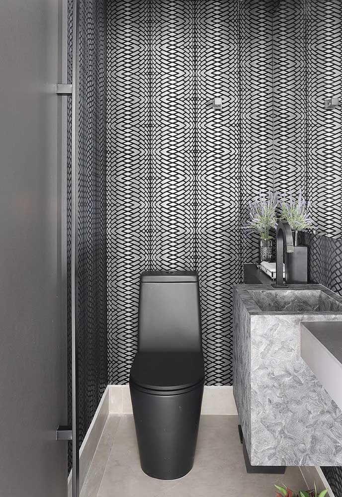 Puro luxo e sofisticação esse pequeno lavabo com vaso sanitário moderno em um tom metálico de grafite
