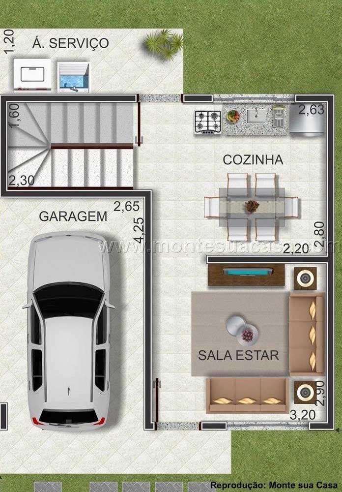 Planta para sobrado pequeno e simples: no primeiro pavimento espaço para garagem, área de serviço, cozinha e sala de estar