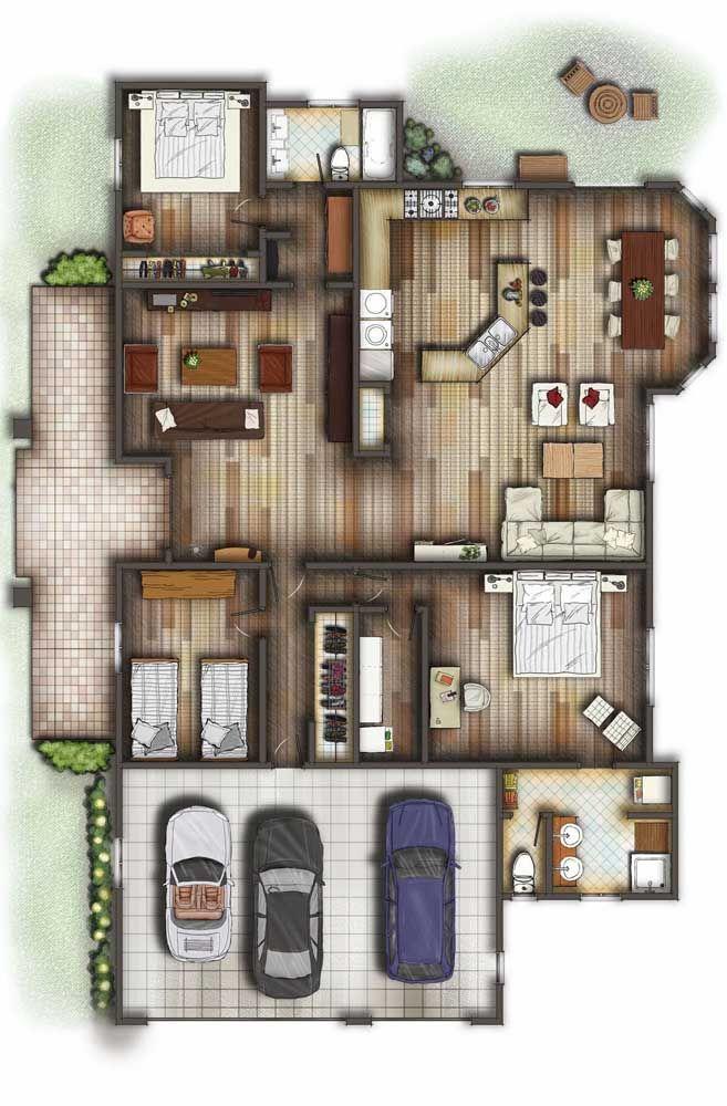 Nessa planta, cozinha, sala de estar e jantar foram unidas em um mesmo ambiente amplo e bem planejado